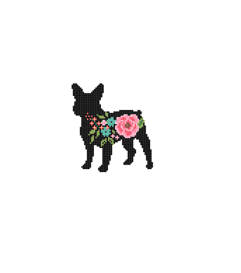 480x544 Frenchie Bulldog Silhouette Cross Stitch Pattern Floral Roses Pet