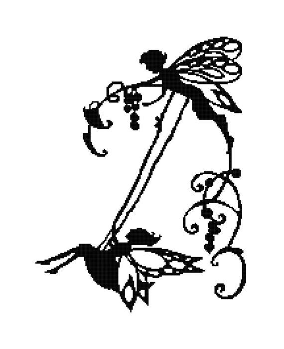 570x699 Handmade Fairy On Swing Silhouette Pdf Cross Stitch Pattern