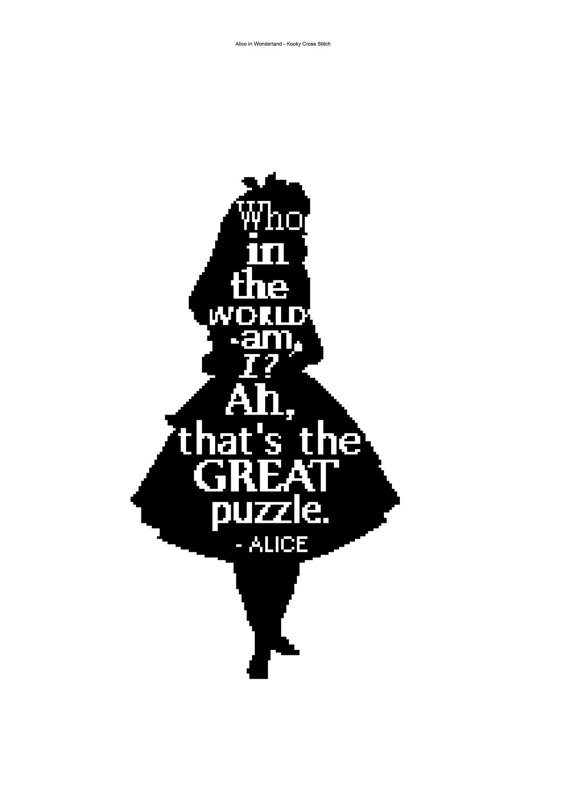 570x811 Alice In Wonderland Silhouette Cross Stitch With Quote