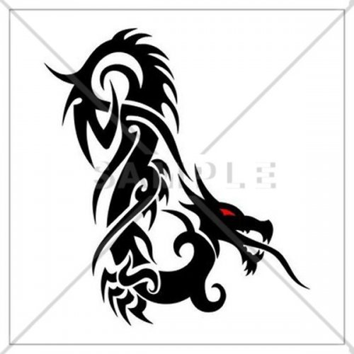 500x500 Dragon Silhouette Counted Cross Stitch Pattern