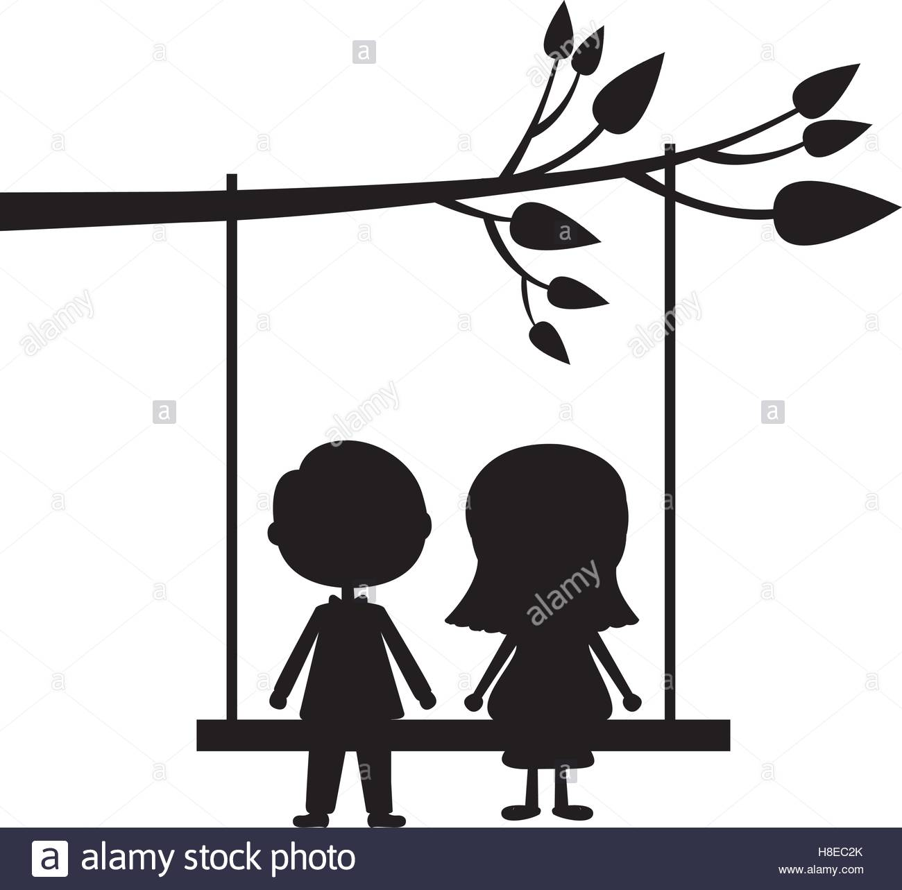1300x1283 Couple Male And Female Silhouette On Tree Swing Icon Image Vector