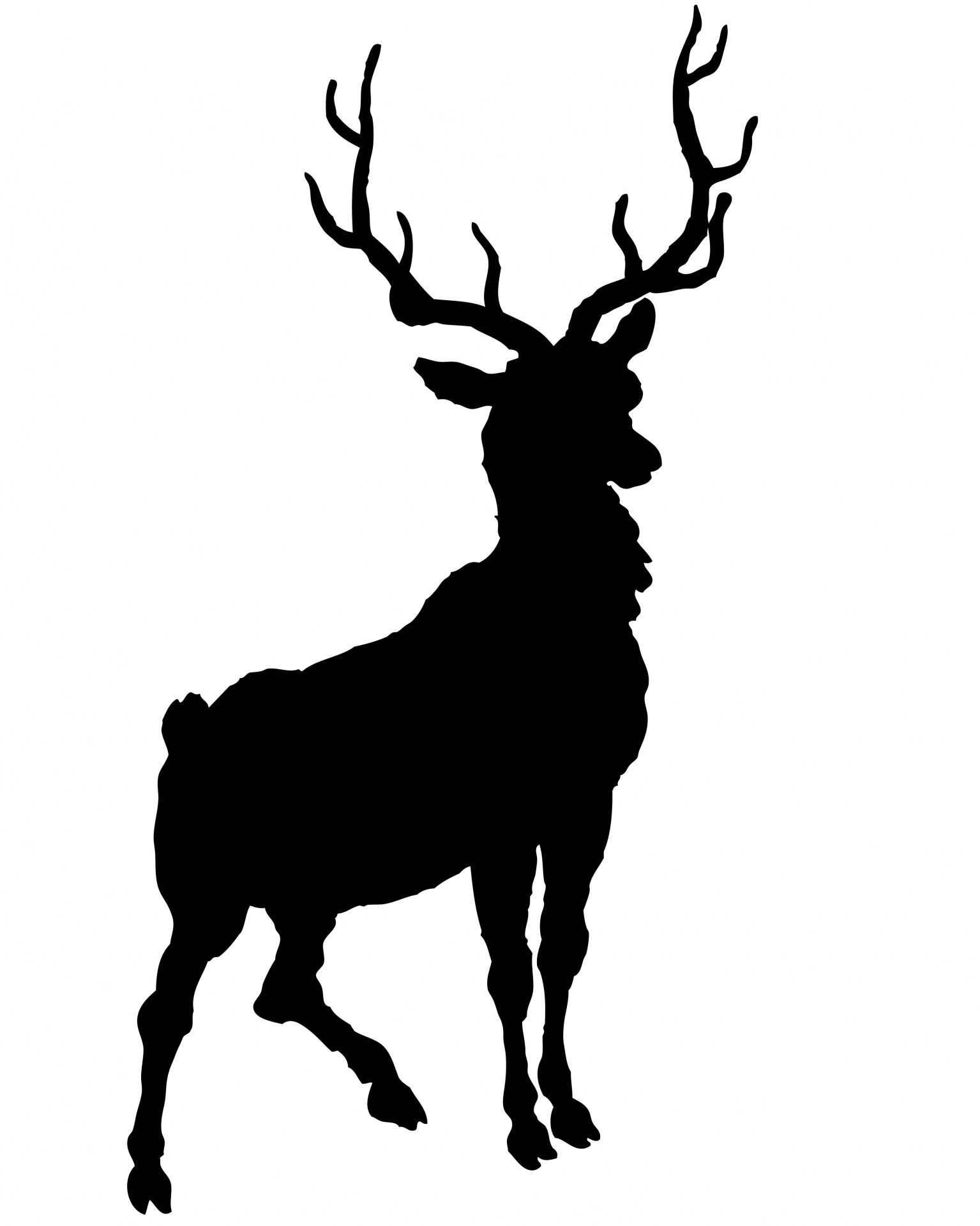 1535x1920 Deer, Stage Silhouette Clipart Free Stock Photo