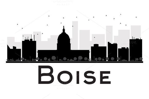 580x386 Boise City Skyline Silhouette Skyline Silhouette, City Skylines