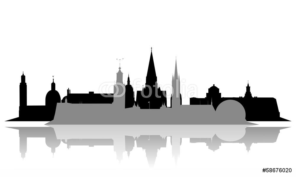 1000x600 Stockholm Stadt City Skyline Horizont Silhouette Wall Sticker