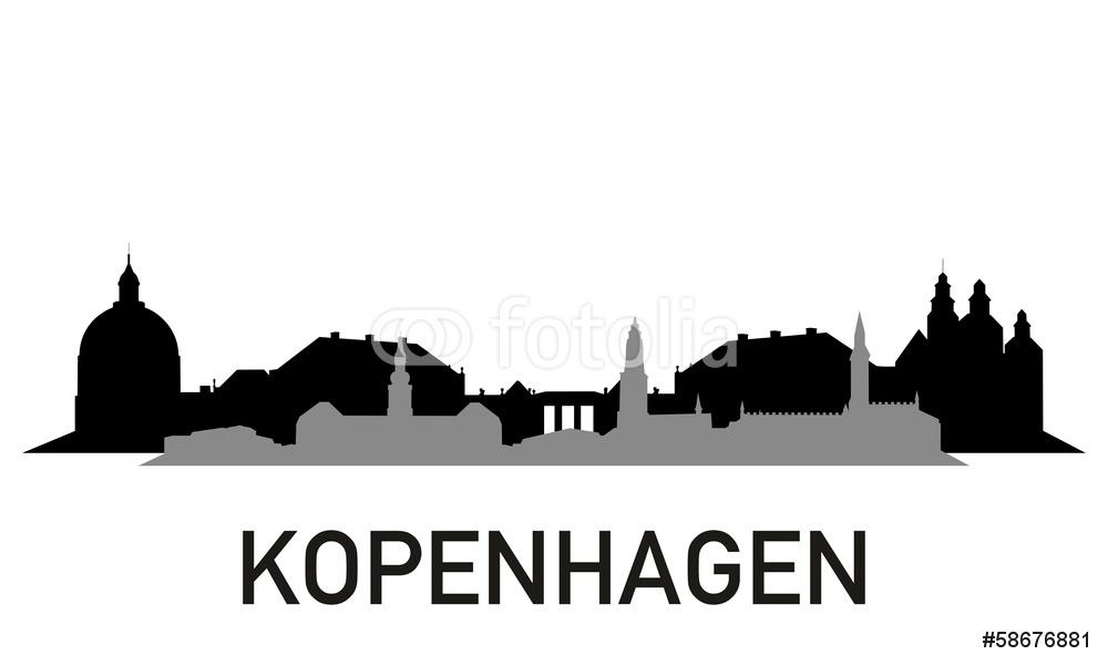 1000x600 City Stadt Skyline Horizont Silhouette Kopenhagen Wall Sticker
