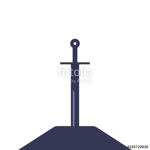 500x500 Sword In The Stone.silhouette Of Medieval Weapon Stock Image