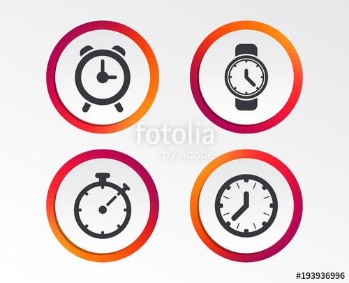 500x405 Mechanical Clock Time Icons. Stopwatch Timer Symbol. Wake Up Alarm