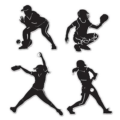 400x400 Softball Players Silhouettes Cutouts