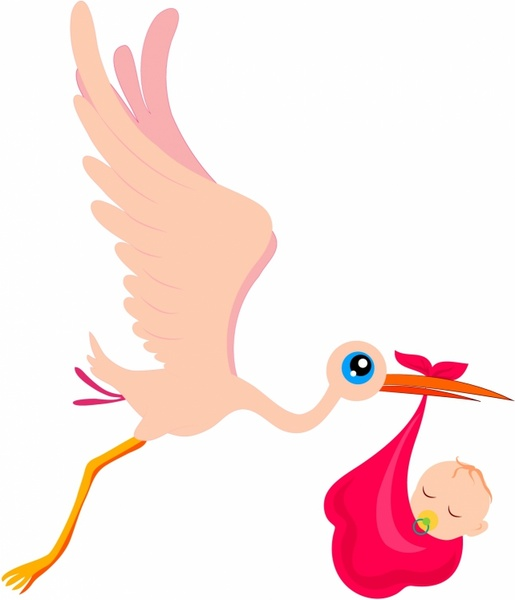 515x600 Stork And Baby Free Vector In Adobe Illustrator Ai ( Ai