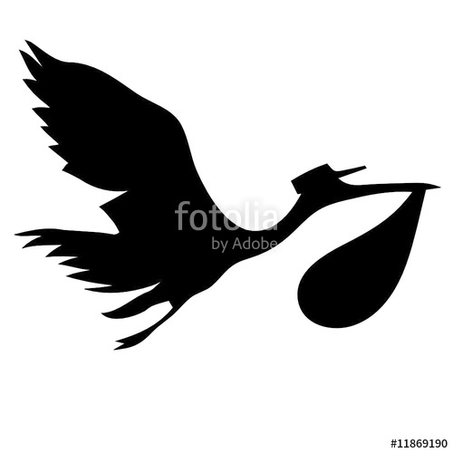 500x500 Stork And Baby Silhouette Vector Stock Image And Royalty Free