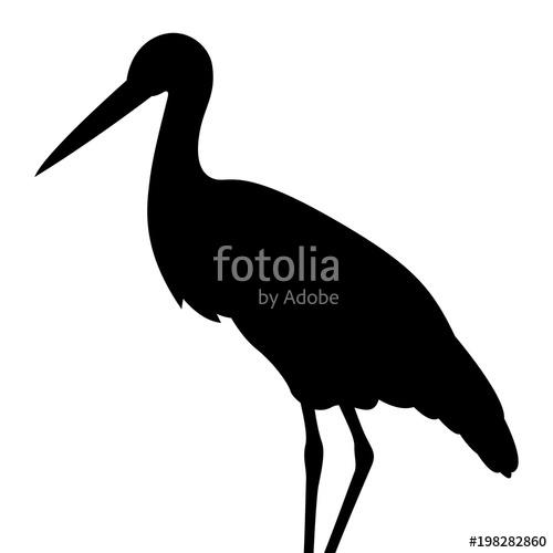 500x500 Bird Stork Vector Illustration Black Silhouette Profile Stock