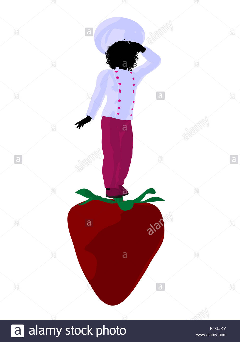 975x1390 African American Girl Chef With Strawberry Illustration Silhouette