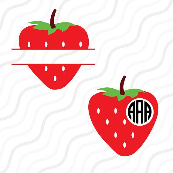 570x570 Strawberry Svg Split Strawberry Svg Monogram Svg Cut Table
