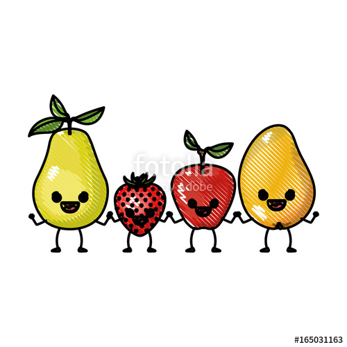 500x500 Colored Crayon Silhouette Set Fruits Pear Strawberry And Mango