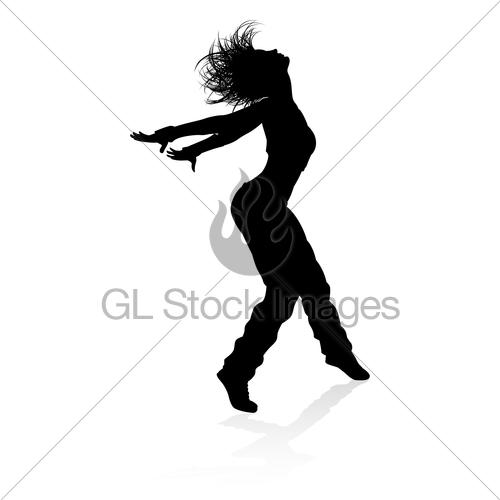 500x500 Street Dance Dancer Silhouette Gl Stock Images