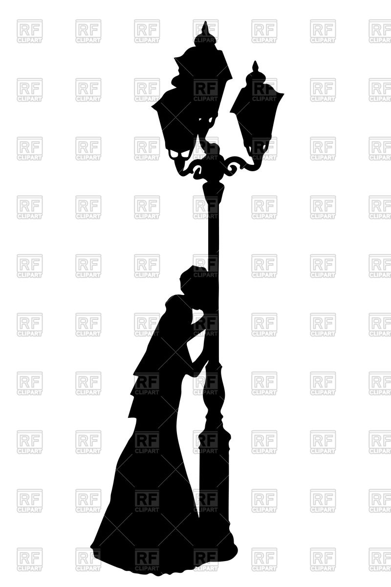 800x1200 Silhouette Of Bride With Street Light Royalty Free Vector Clip Art