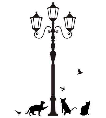 449x500 Street Lamp Post With Cats And Birds Silhouette Wall Stickers