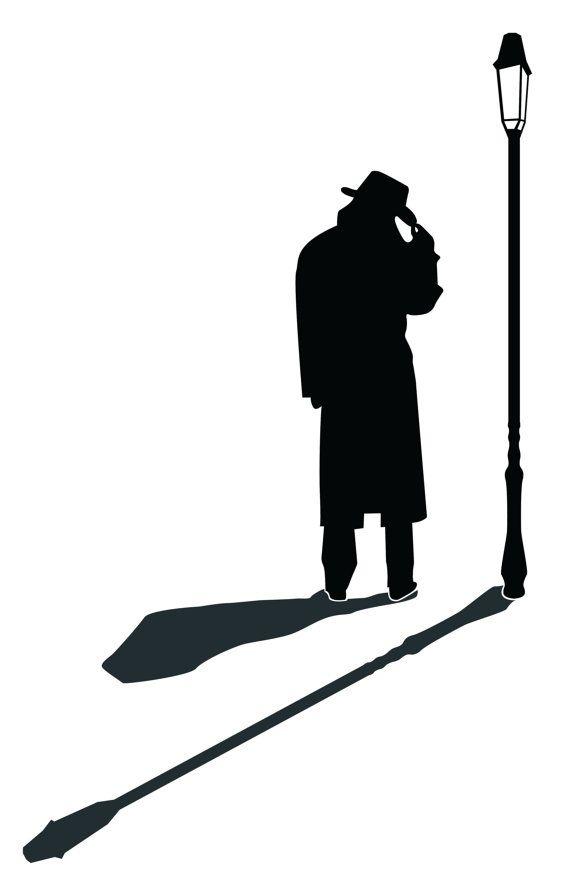 570x893 Street Lamp Silhouette Detective Man Silhouette Wall Decal Custom