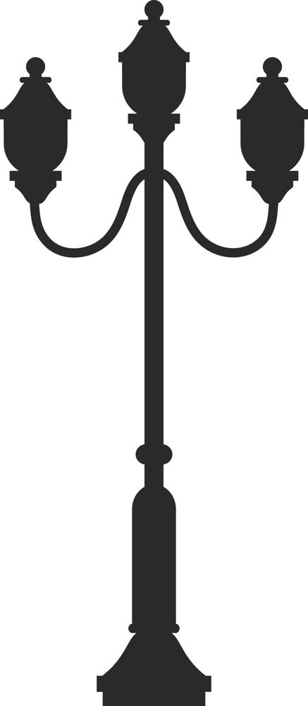 437x999 Street Lamp Silhouette Dxf File Free Download