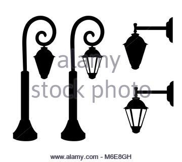 360x320 Street Lamp Set. Street Lights. City Retro Streetlignt Silhouette