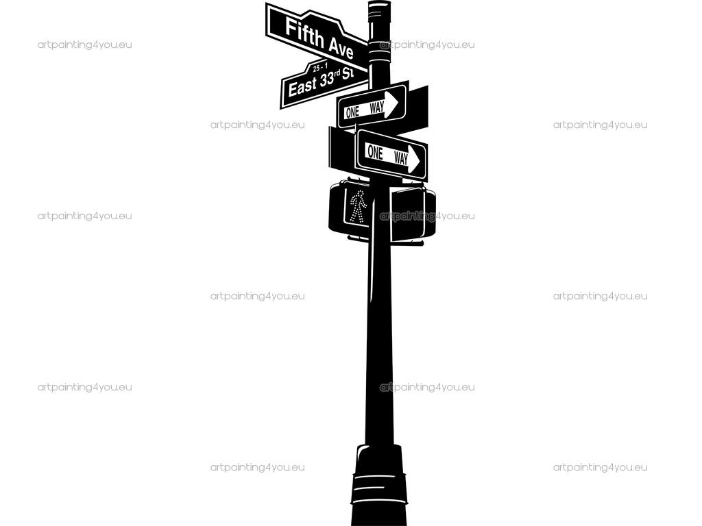 1024x768 New York Street Signs A R T Silhouette