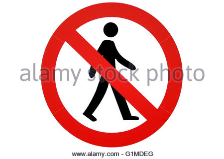 450x320 No Walking Sign. Prohibited Black Road Sign Isolated On White