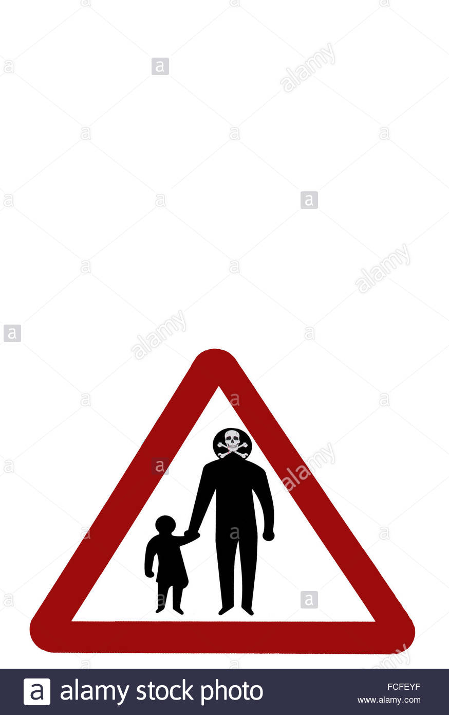 874x1390 Pedestrians Walking Red Triangle Street Sign, With Adult's Head