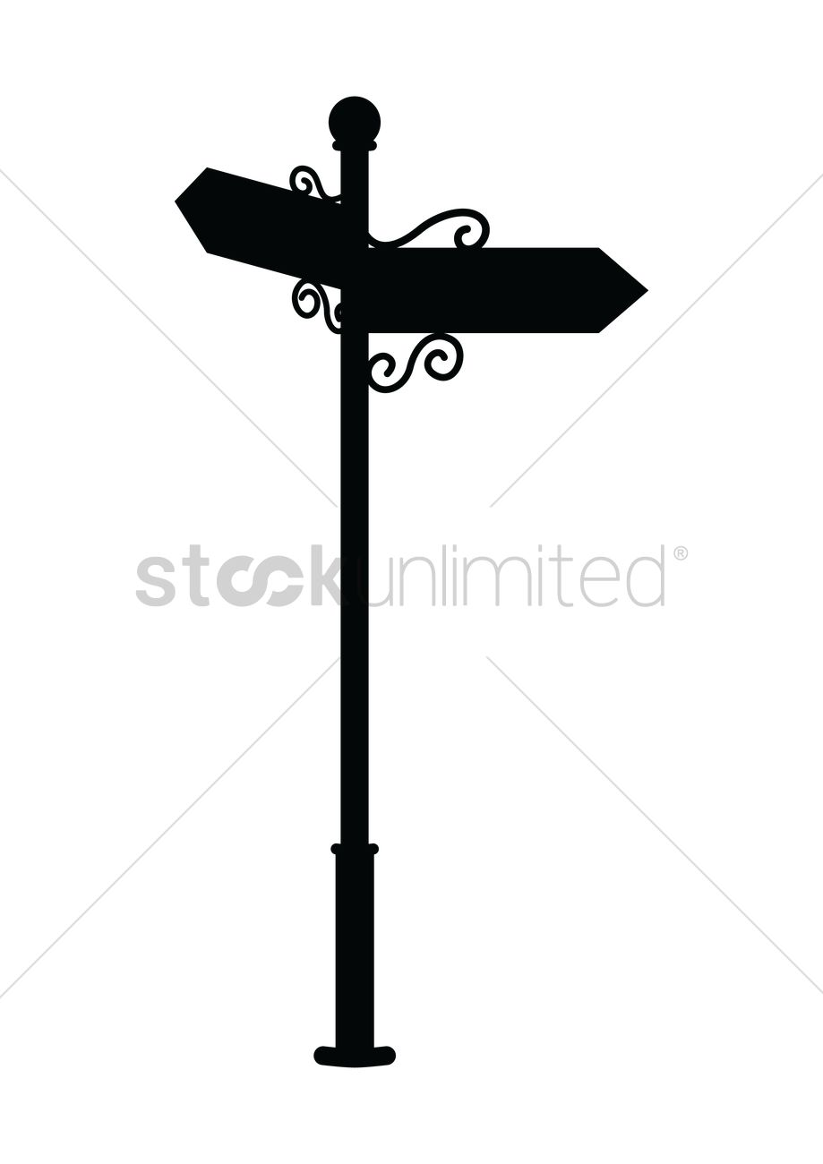 919x1300 Silhouette Of Signpost Vector Image