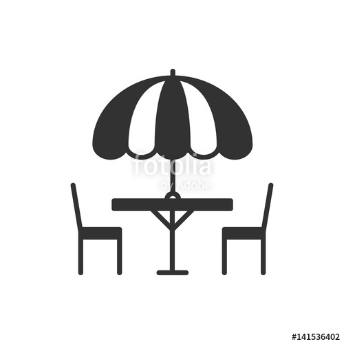 500x500 Thin Line Icons Set. Table And Chair Outside. Outdoors. Silhouette