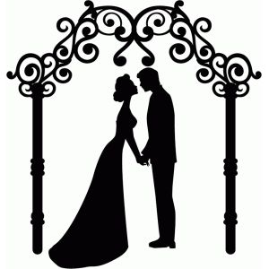 300x300 Wedding Couple And Arch Silhouette Design, Silhouettes And Cricut