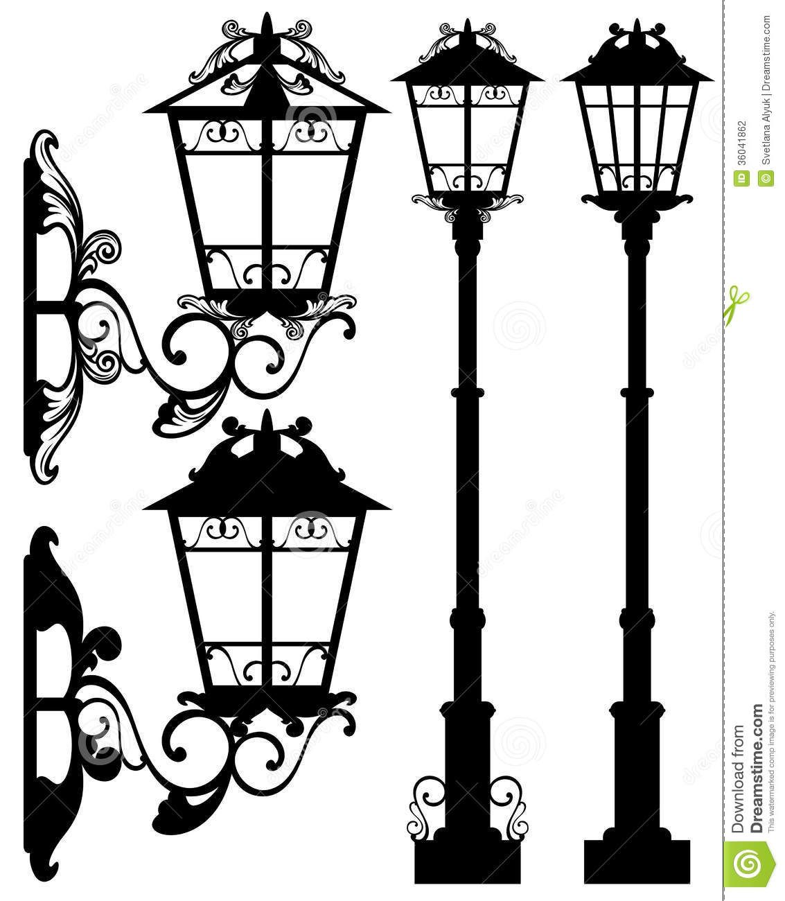 1133x1300 Street Light Vector Antique Silhouettes Detailed Black White