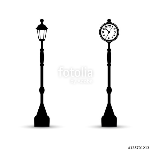 500x500 Flat Streetlight And Clock Silhouettes. Lamppost And Watch Icons