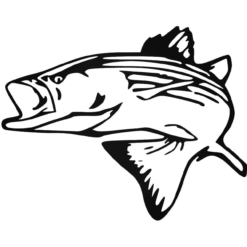 1000x1000 Striped Bass Vinyl Decal Sticker Silhouette Vinyl