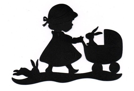 570x389 New Design Girl With Stroller Silhouette Die Cut For Scrap Booking