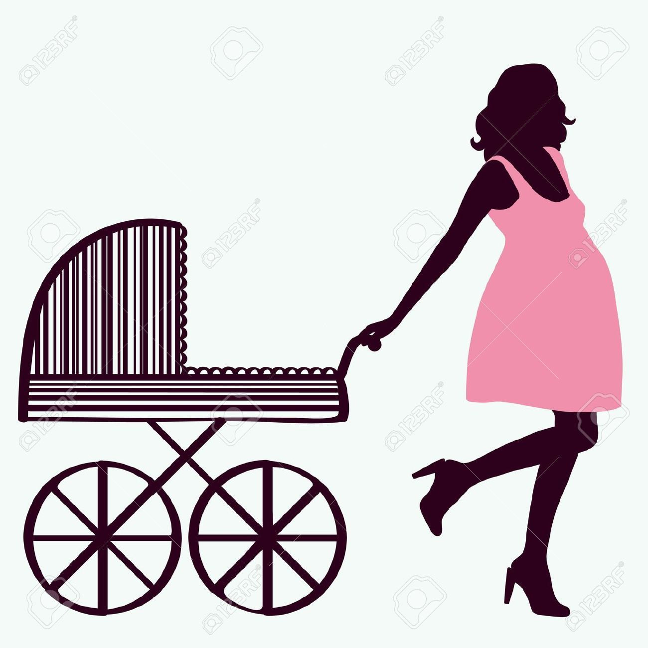 1300x1300 9429908 Woman Silhouette With Baby Carriage Stock Vector Pregnant