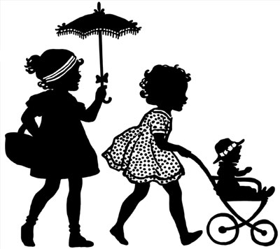 400x356 Silhouette Of A Two Girls Pushing A Doll In A Stroller