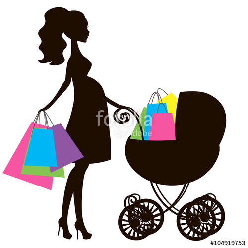 500x500 Silhouette Cute Stroller, Vintage Baby Carriage, Online Store