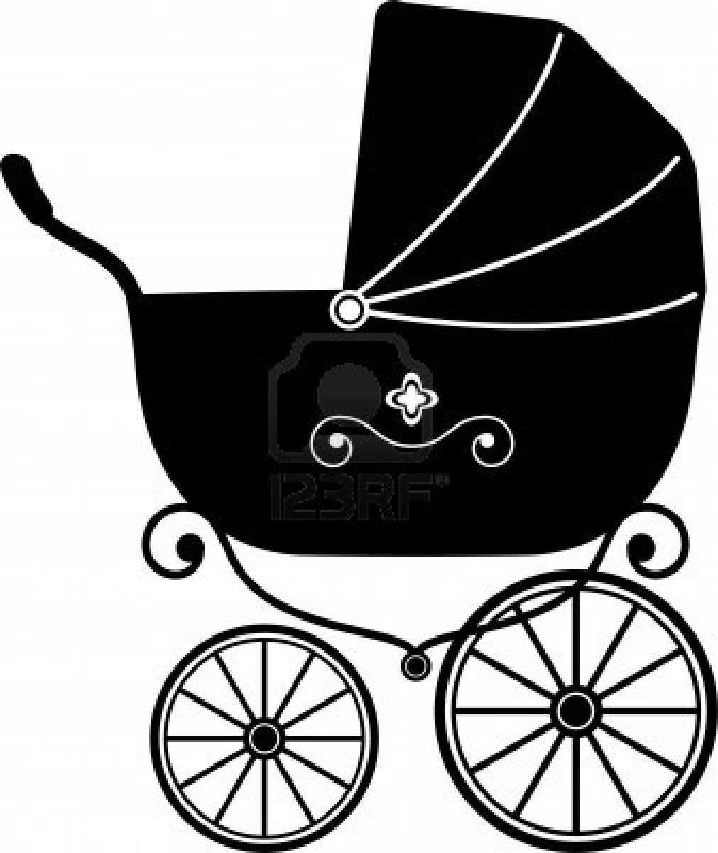 1011x1200 Baby Stroller Over White (Silhouette) Stock Photo