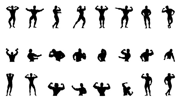 594x335 Fitness Silhouettes Set