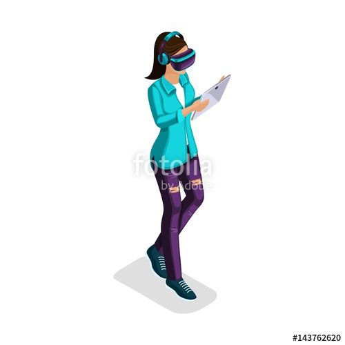 500x500 Trendy Isometric People And Gadgets, A Teenager, A Young Girl