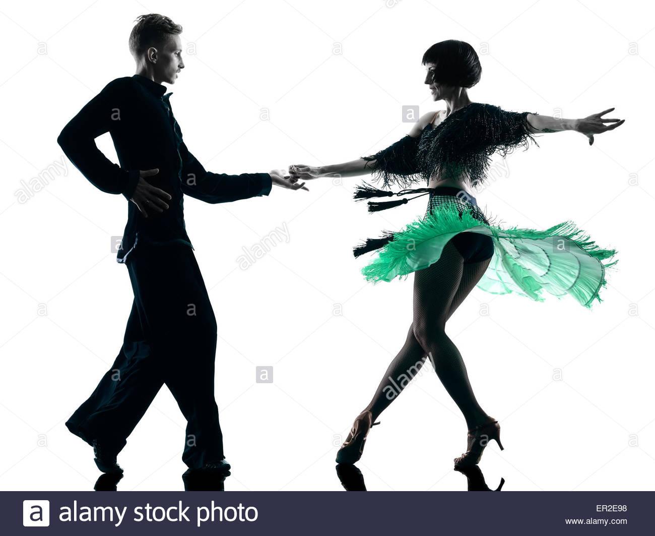 1300x1063 One Caucasian Elegant Couple Dancers Dancing In Studio Silhouette