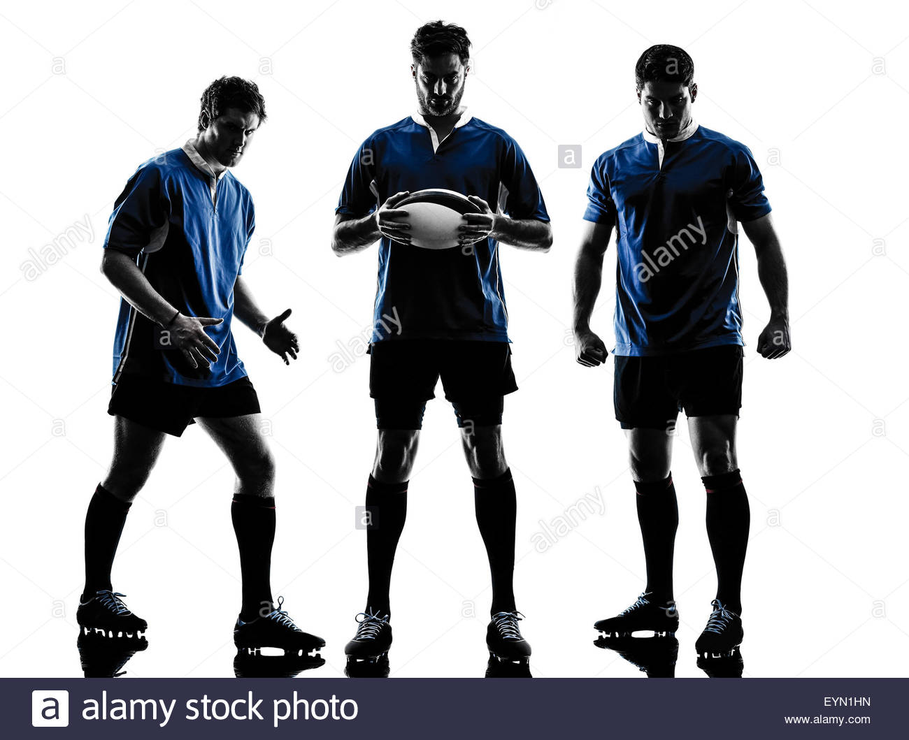 1300x1059e Caucasian Rugby Men Players In Studio Silhouette Isolated