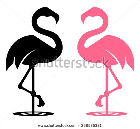 450x414 Flamingo Stylized Silhouette In Black And Pink Colour Variants