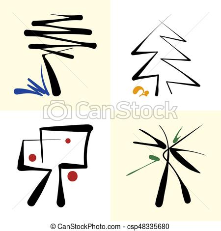 450x470 Set Of Stylized Icon Trees. Abstract Tree Silhouette Vector