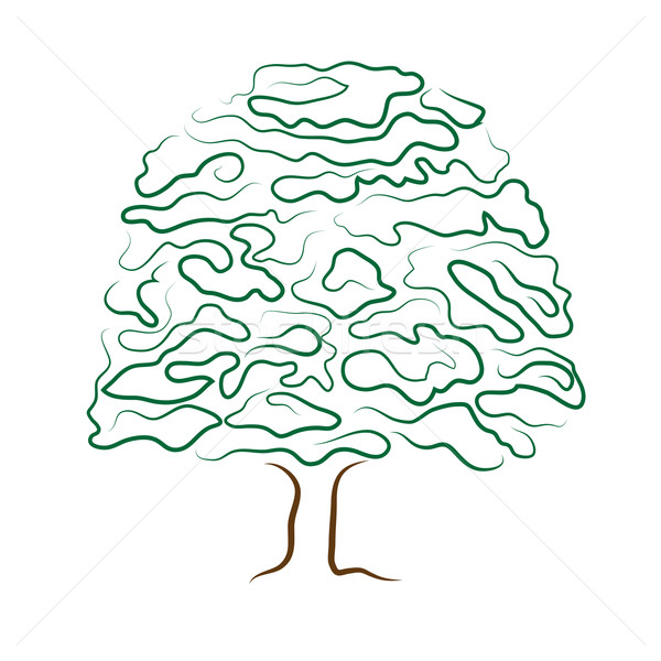 600x600 Stylized Tree Silhouette Isolated On White Background Vector