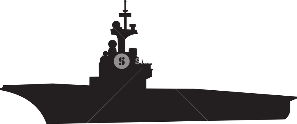 1000x420 Navy Ship Silhouette Royalty Free Stock Image