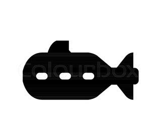 320x280 Cartoon Military Submarine Icon. Underwater Transport. Black Navy