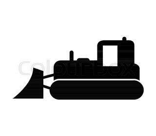 320x280 Bulldozer Icon. Gray Monochrome Illustration Of Bulldozer Vector