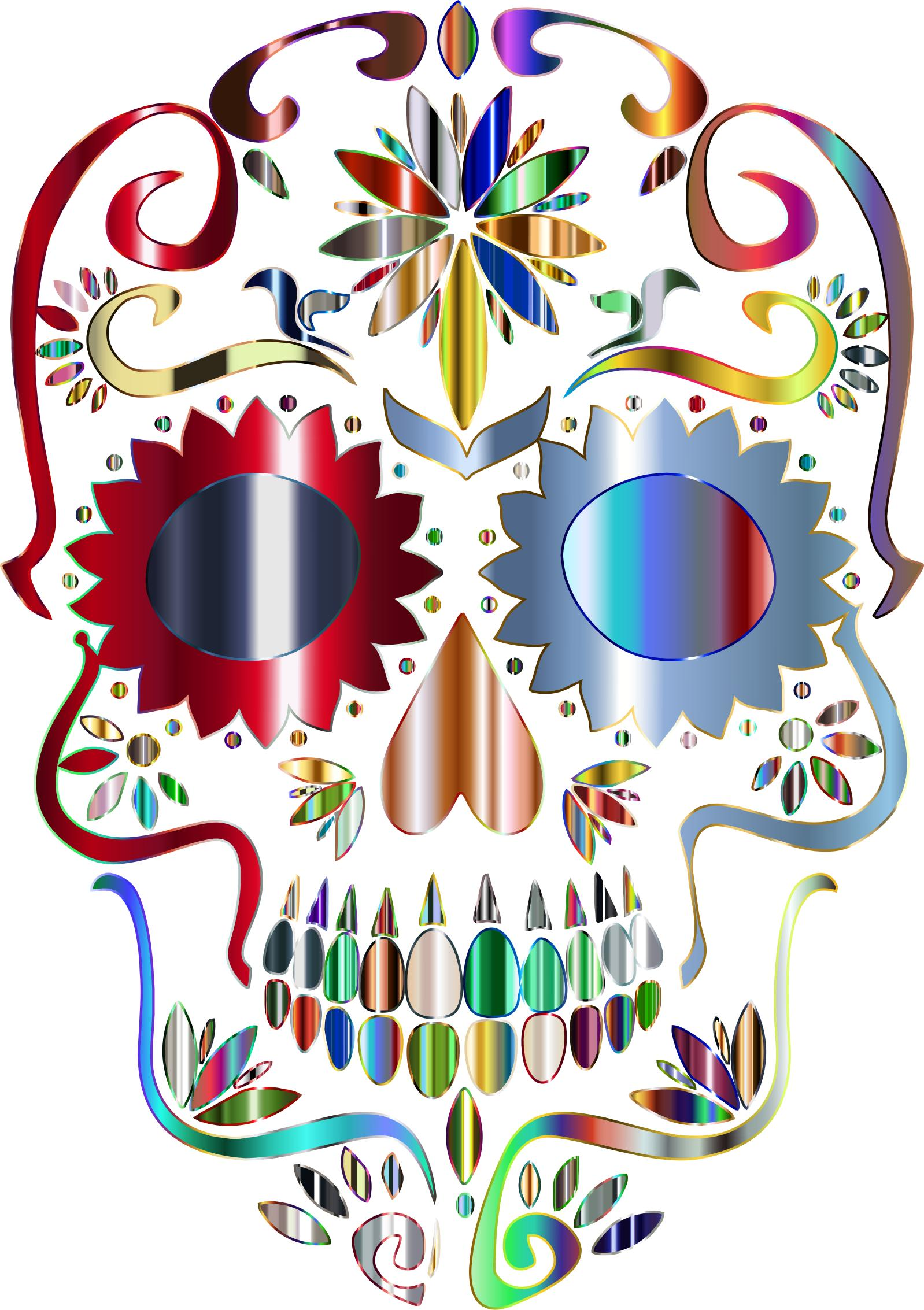 1598x2266 Psychedelic Sugar Skull Silhouette No Background Icons Png