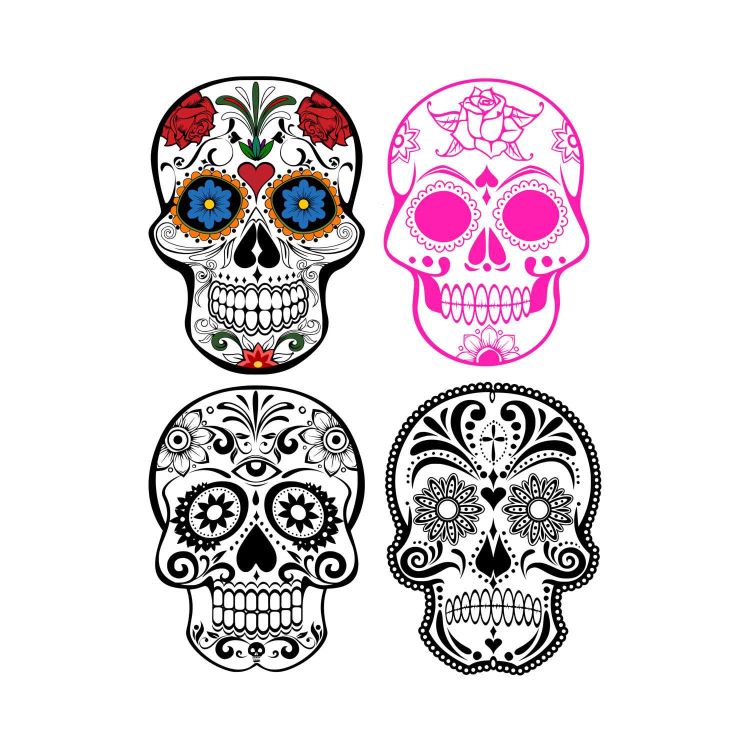 1500x1500 Sugar Skull Svg Files For Cricut Silhouette Cameo Files